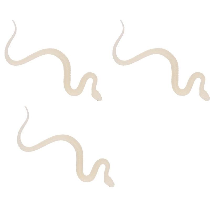 3x Plastic dieren glow in the dark slangen 15 cm