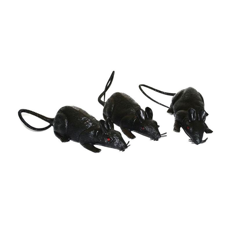 3x Plastic horror ratten 12 cm