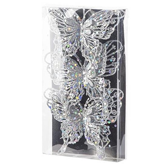 3x stuks decoratie vlinders op clip glitter zilver 11 cm