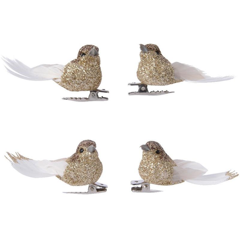 4x Decoratie glitter vogeltjes goud op clip 5 cm