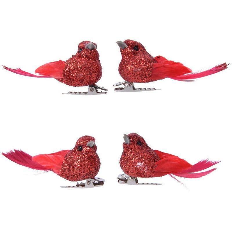 4x Decoratie glitter vogeltjes rood op clip 5 cm