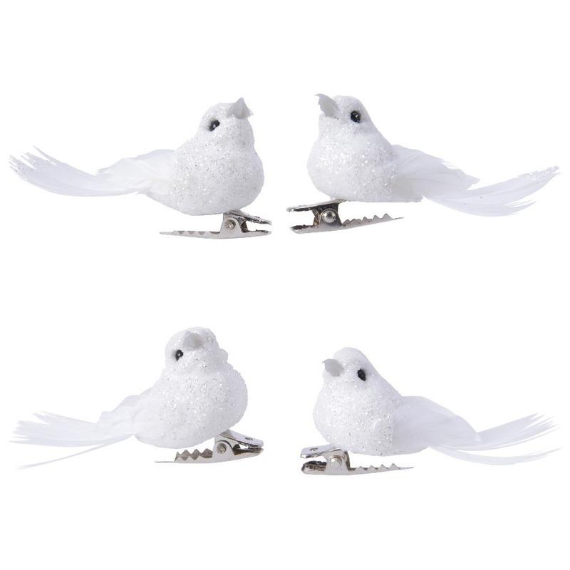 4x Decoratie glitter vogeltjes wit op clip 5 cm