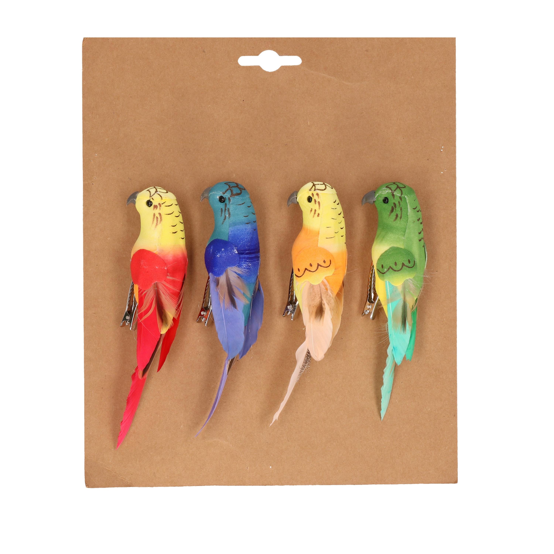4x Gekleurde papegaaitjes/vogels op clip 14 cm