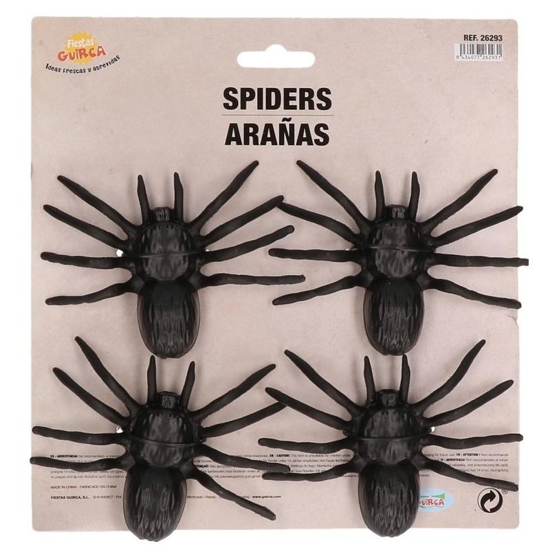 4x Plastic horror spinnen 10 cm Halloween decoratie