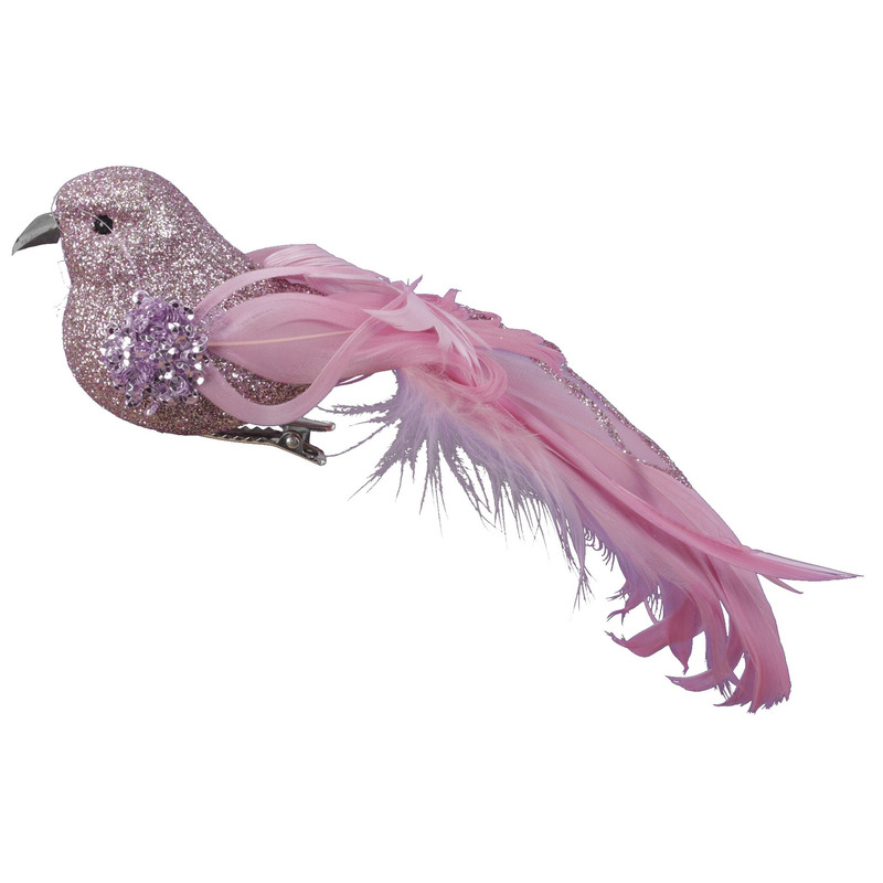 4x Roze glitter decoratie vogeltjes op clip 17 cm