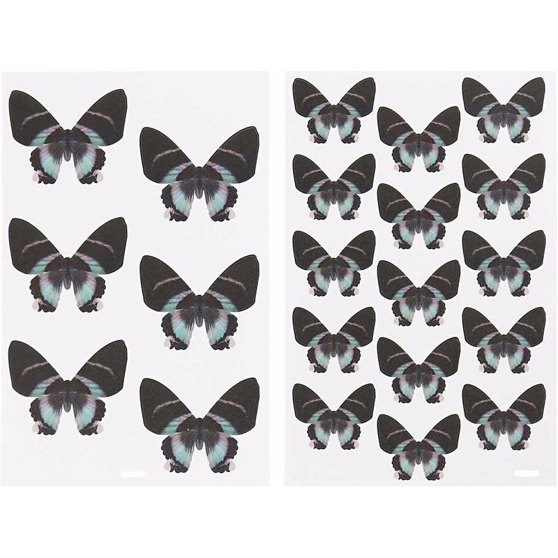4x stuks vellen zwarte vlinder stickers