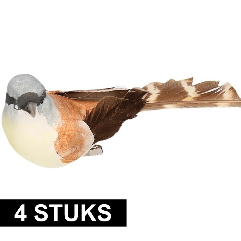 4x Vogel op clip bruin/wit 9 cm