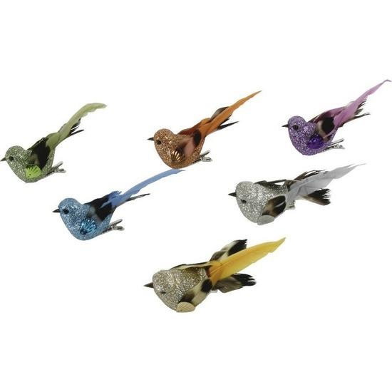 4x Vogel op clip oranje 10 cm