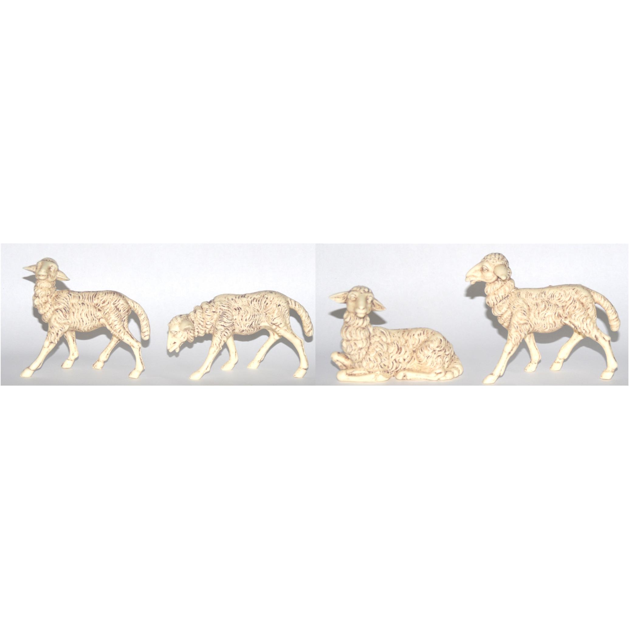 4x Witte schapen beeldjes 10 x 10 cm dierenbeeldjes