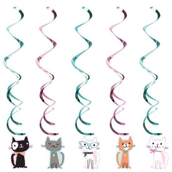 5x Katten/poezen feest hangdecoratie
