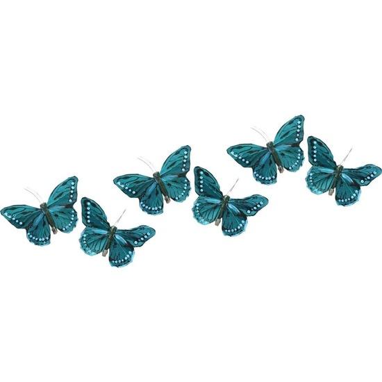 6x Decoratie vlindertje turquoise blauw/wit 9 x 16 cm op ijzerclip