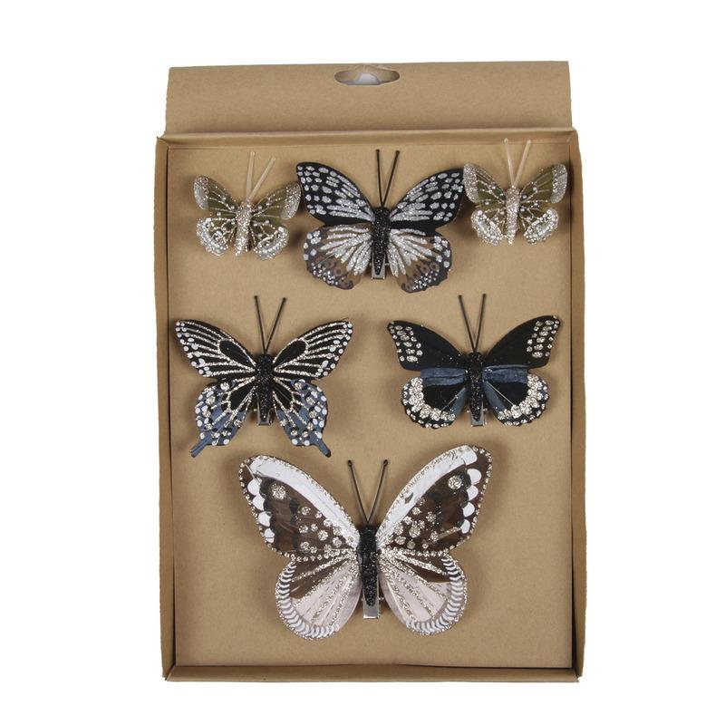 6x Kerstversiering vlinders op clip 5, 8 en 12 cm