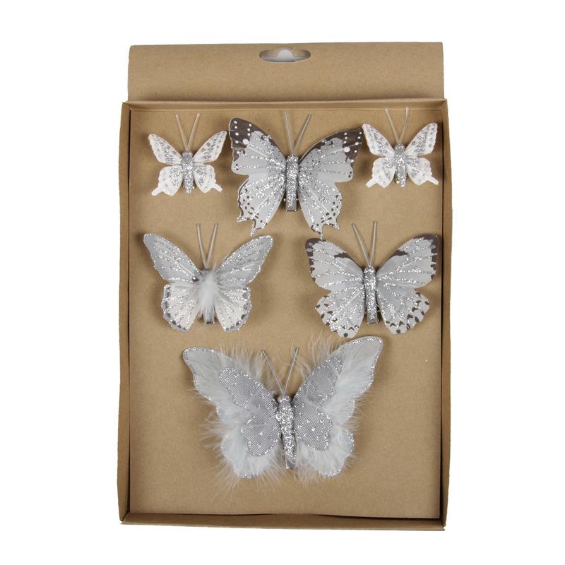 6x stuks Kerstversiering vlinders op clip grijs 5, 8, 12 cm
