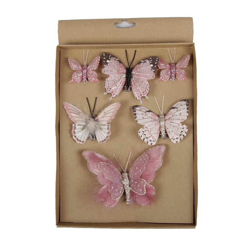 6x stuks Kerstversiering vlinders op clip roze