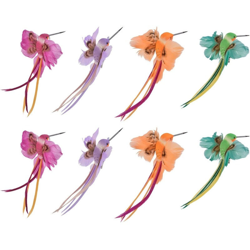 Afbeelding 8x Decoratie vogeltjes roze/paarse/oranje/groene kolibrie 15 cm op clip met echte veren door Animals Giftshop
