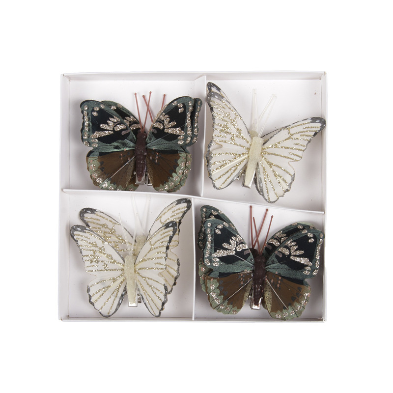 8x Kerstversiering vlinders op clip 8 cm