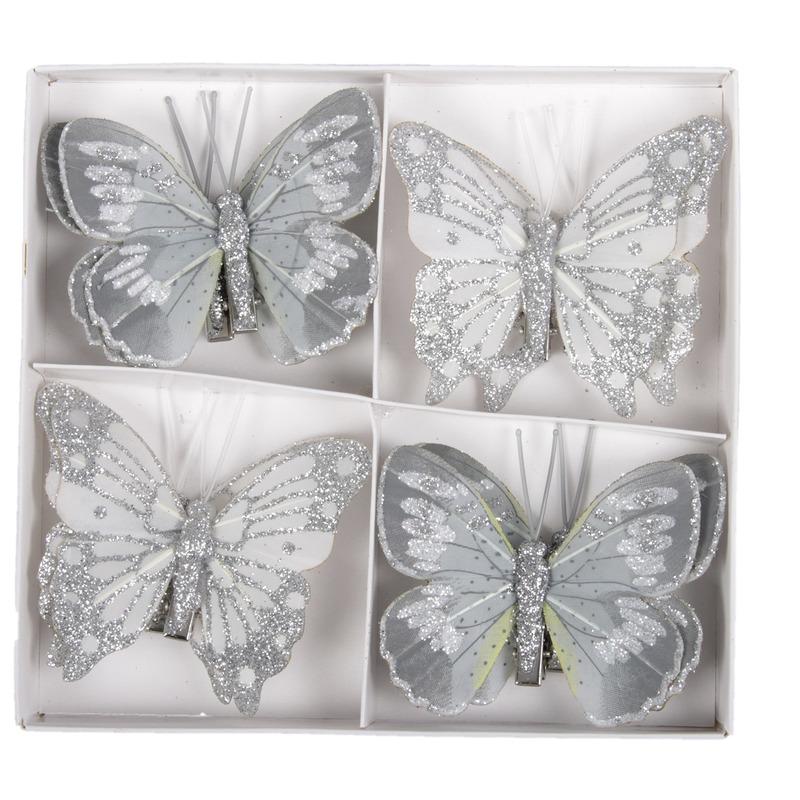 8x Kerstversiering vlinders op clip grijs 8 cm