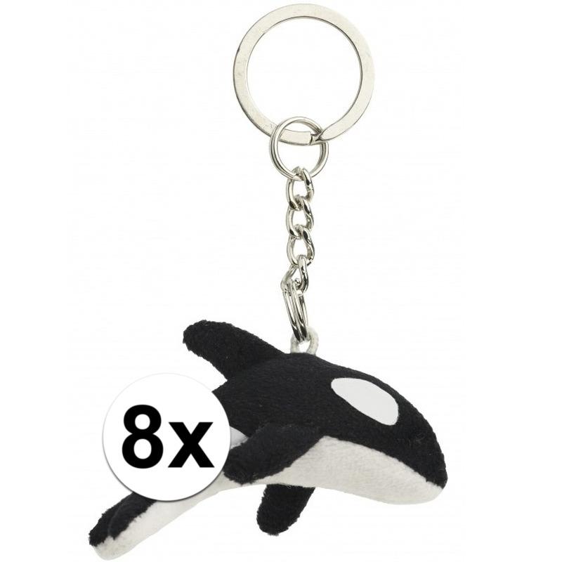 8x Pluche sleutelhangers orka walvis 6 cm
