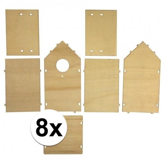 8x stuks Doe-het-zelf vogelhuisjes