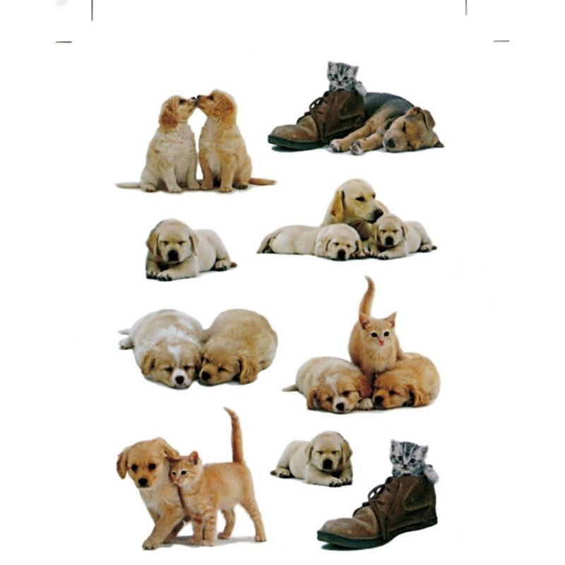9x Honden/puppy's stickervellen met poezen met 9 stickers