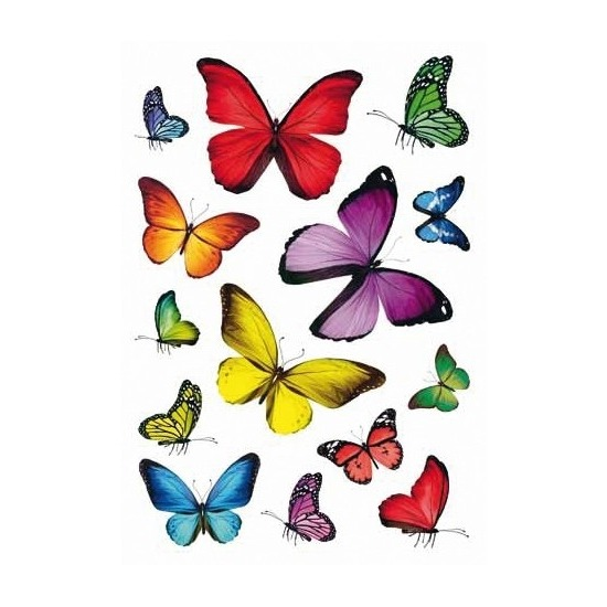 9x Vlinder stickervellen met 14 stickers
