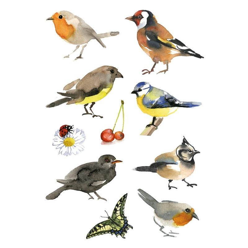 9x Vogel stickervellen met 10 stickers