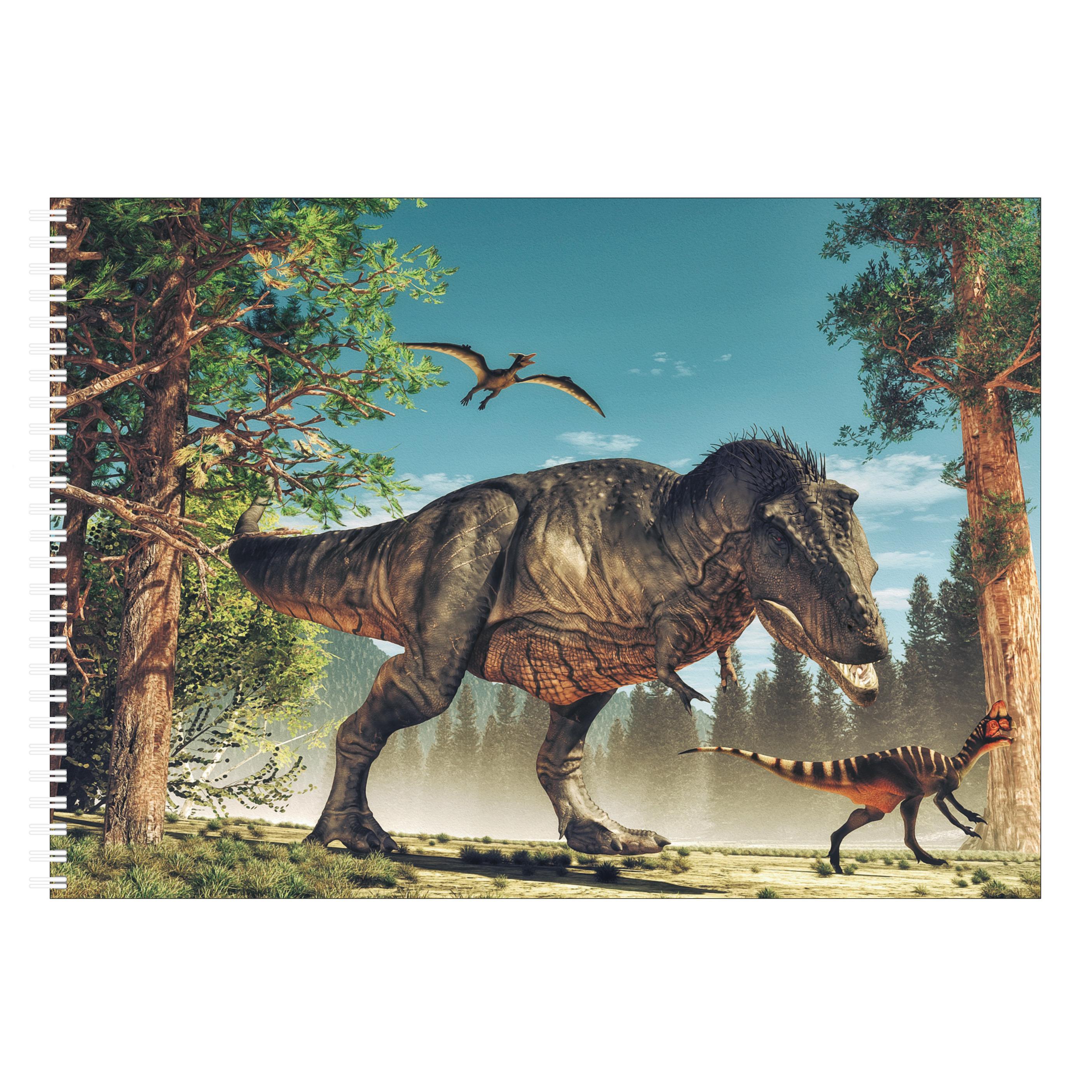 A4 Tekeningen papier boek/ schetsboek met Tyrannosaurus/ dinosaurus kaft