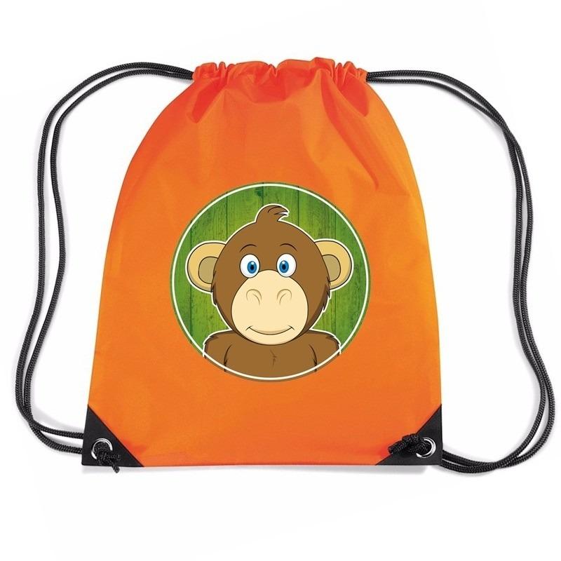 Aap dieren trekkoord rugzak / gymtas oranje voor kinderen