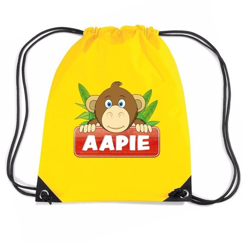 Aapie de aap trekkoord rugzak / gymtas geel voor kinderen