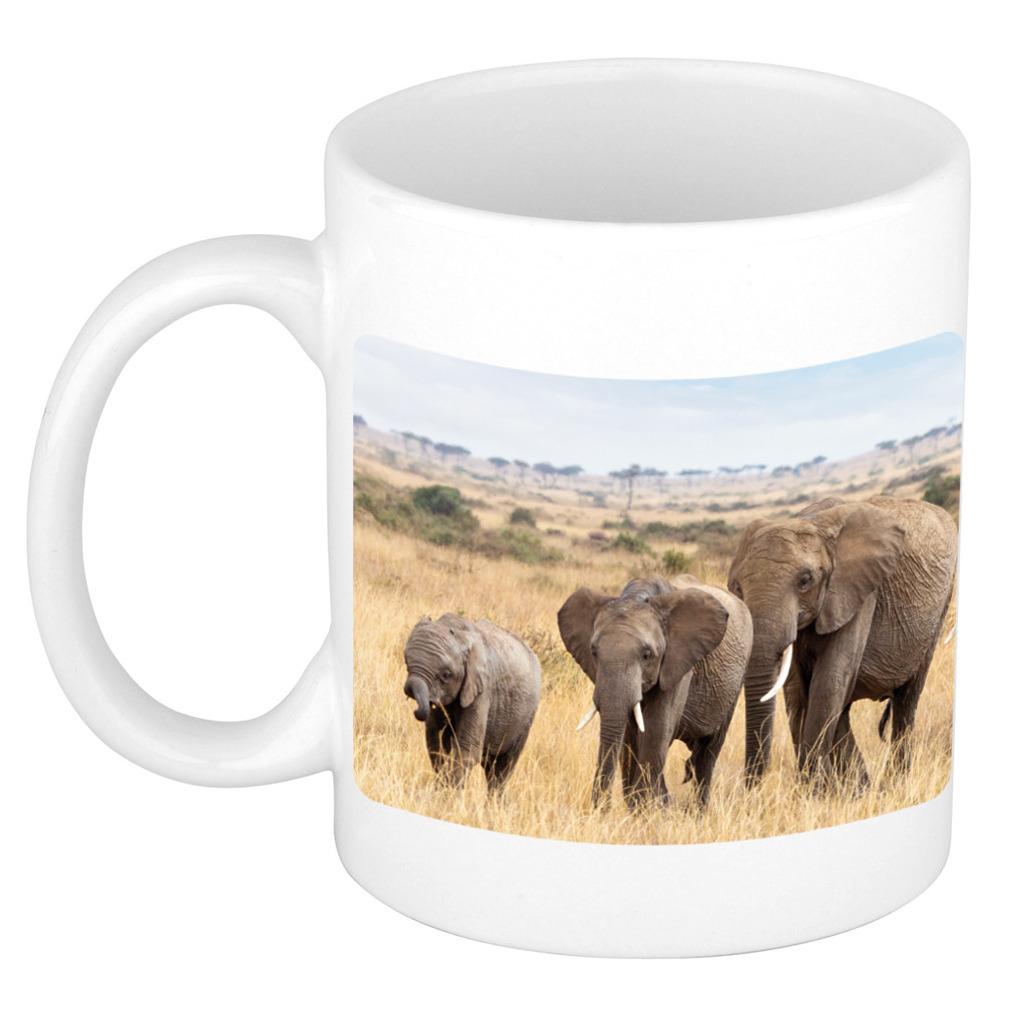 Afrikaanse olifanten koffiemok - theebeker wit 300 ml voor de natuurliefhebber