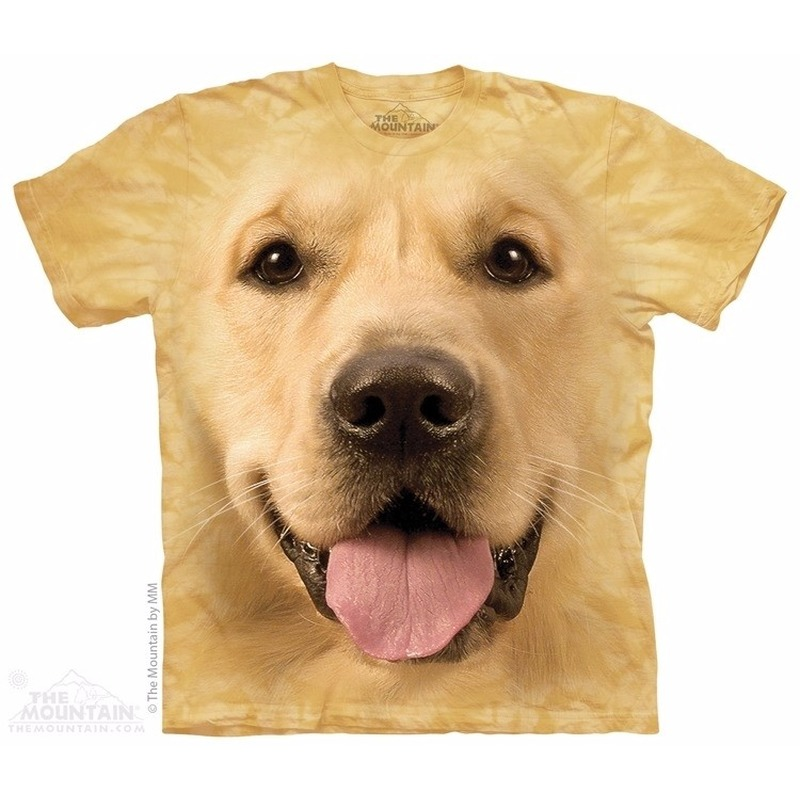 All-over print t-shirt met Golden Retriever hond