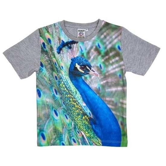 All-over print t-shirt met pauw voor kinderen