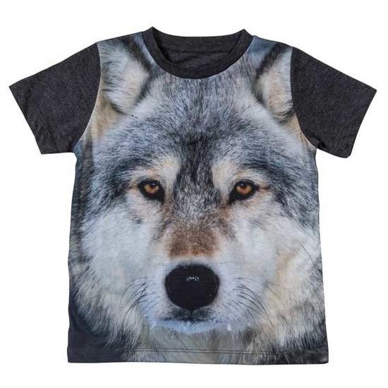 All-over print t-shirt met wolf voor kinderen