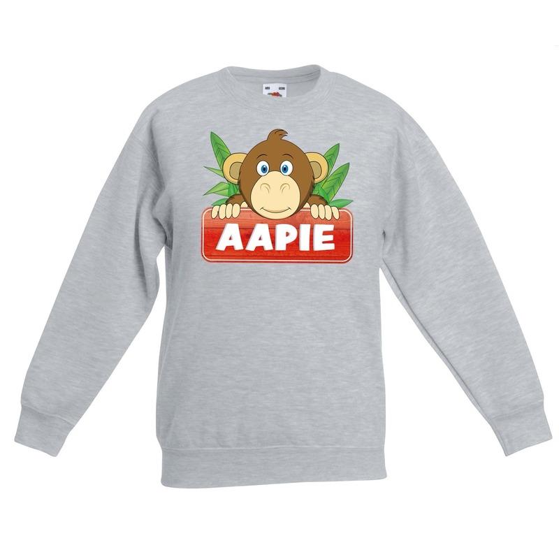 Apen dieren sweater grijs voor kinderen