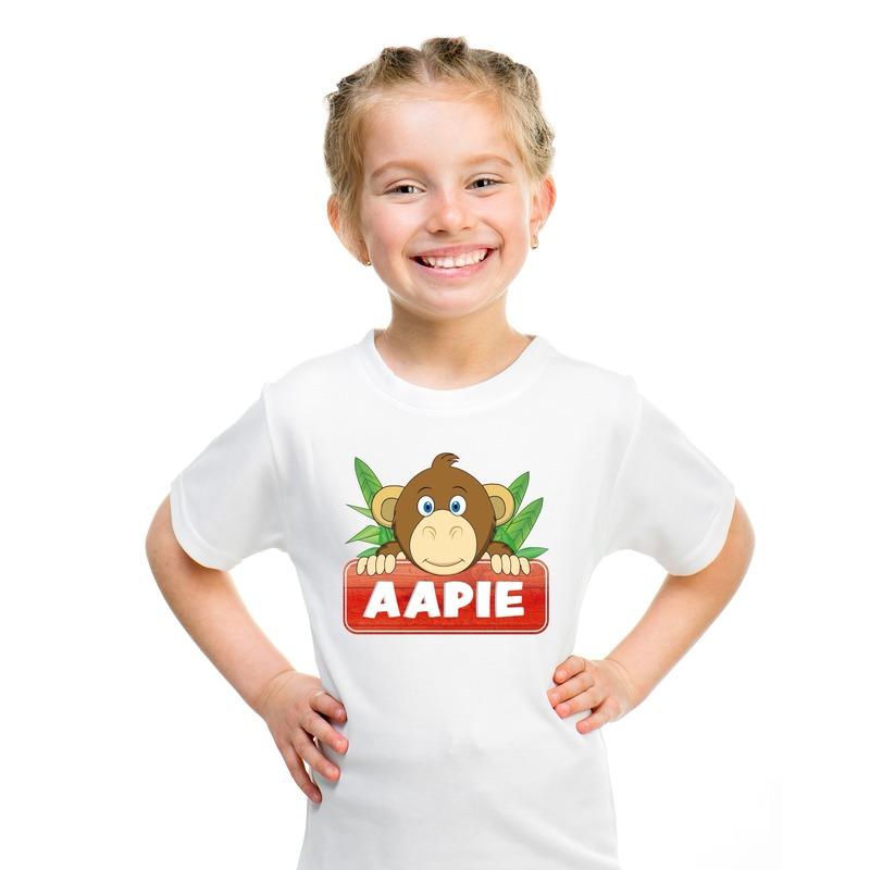Apen dieren t-shirt wit voor kinderen