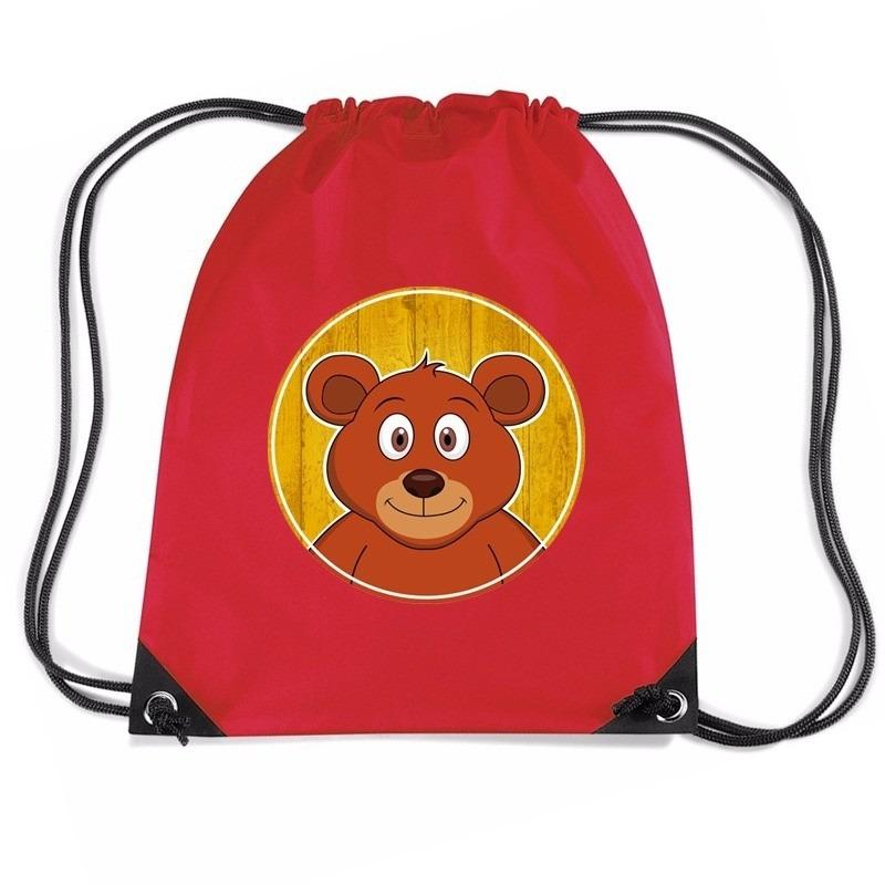 Beer dieren trekkoord rugzak - gymtas rood voor kinderen