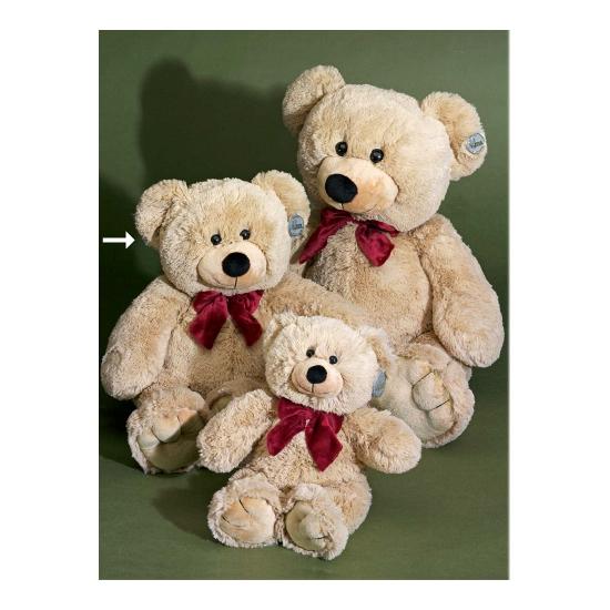 Beige beer met rode strik 55 cm