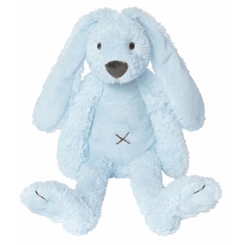 Blauw knuffel konijn 28 cm