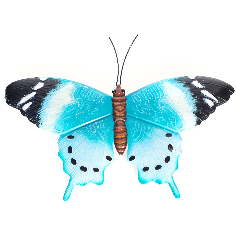 Blauw/zwarte metalen tuindecoratie vlinder 48 cm