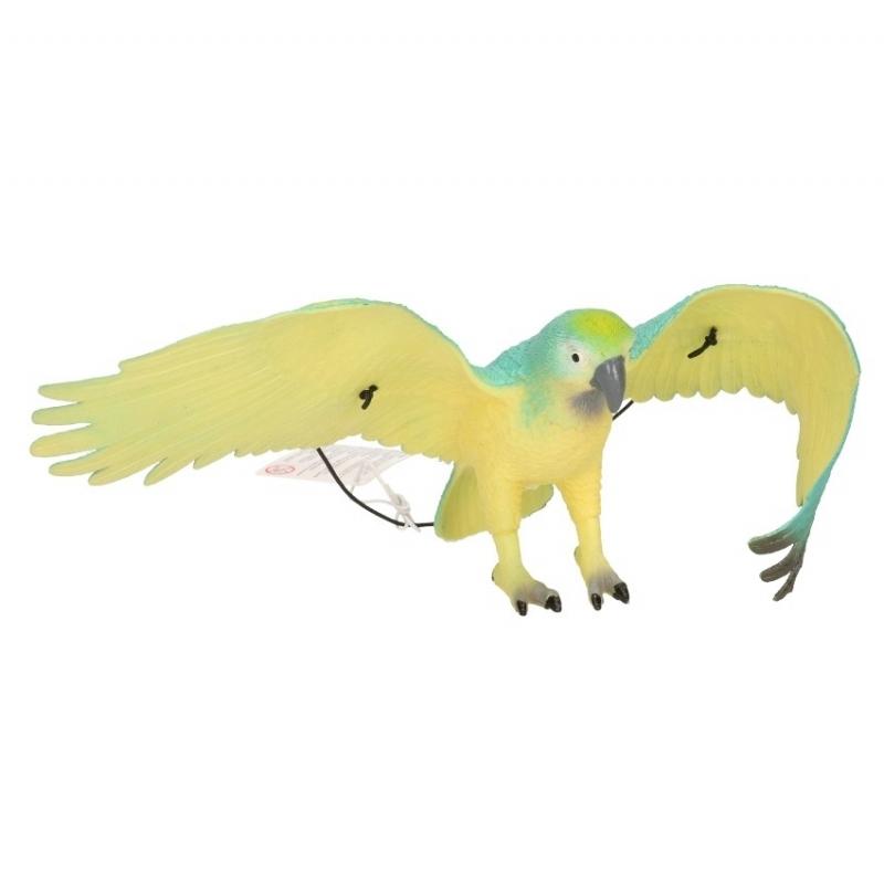 Blauw zwarte papegaai van plastic 33 cm