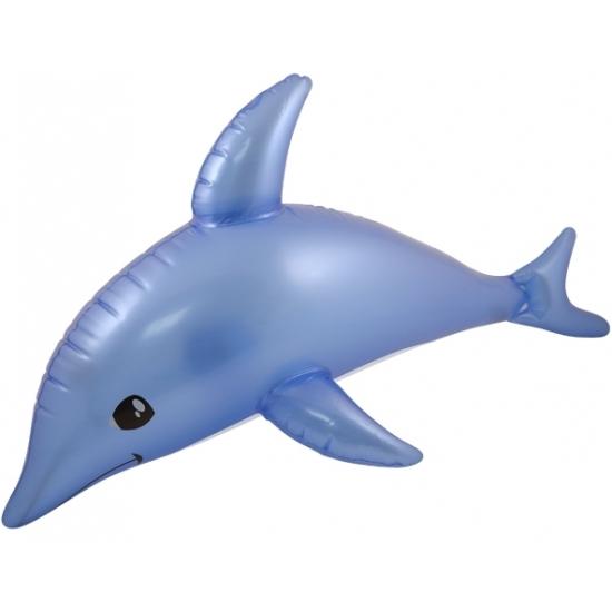 Blauwe opblaas dolfijn 53 cm