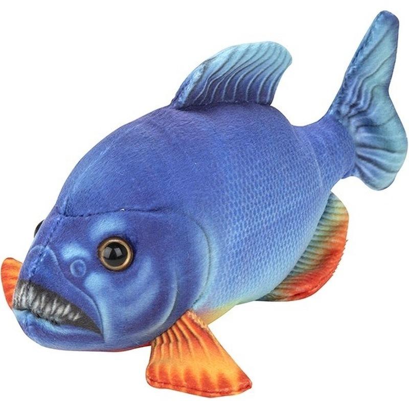 Blauwe piranha vissen knuffels 18 cm knuffeldieren