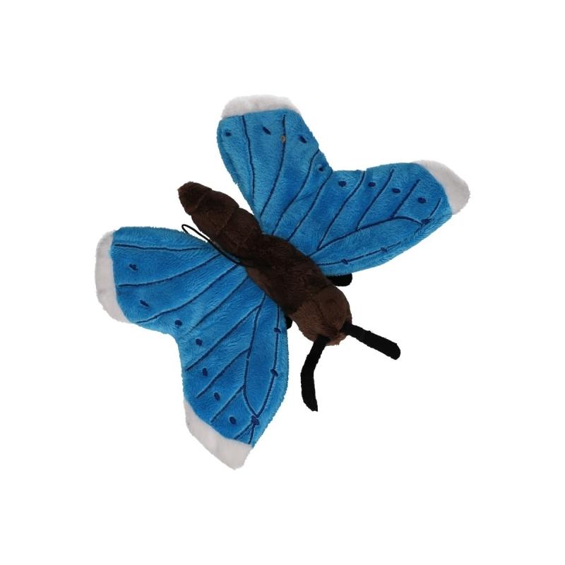 Blauwe vlinder knuffeldier 21 cm