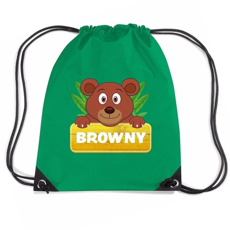 Browny de Beer trekkoord rugzak - gymtas groen voor kinderen