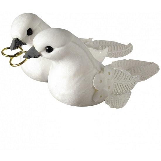 Bruiloft duivenpaar met ringetjes 5,5 cm