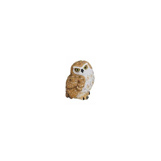 Bruin met witte decoratie beeldje uil 11 cm