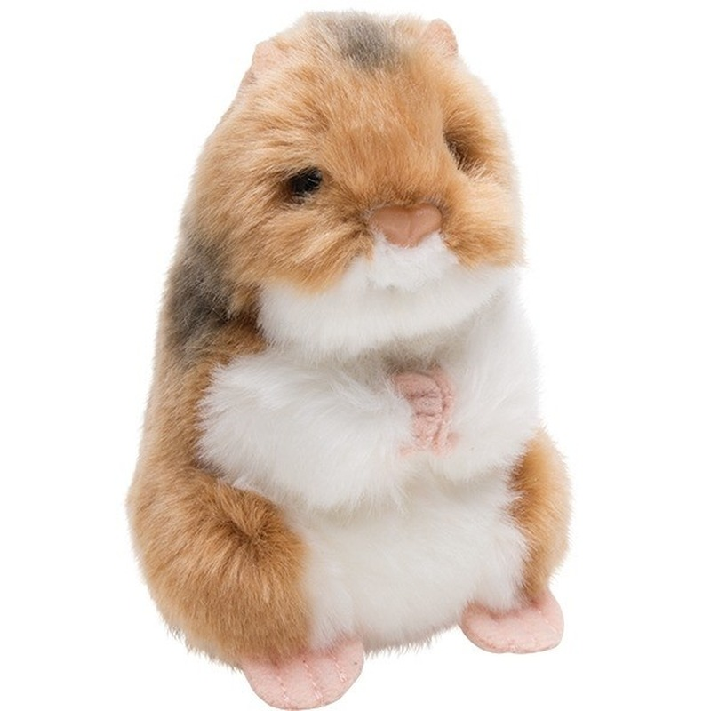 Bruin/witte hamster knaagdieren knuffels 13 cm knuffeldieren