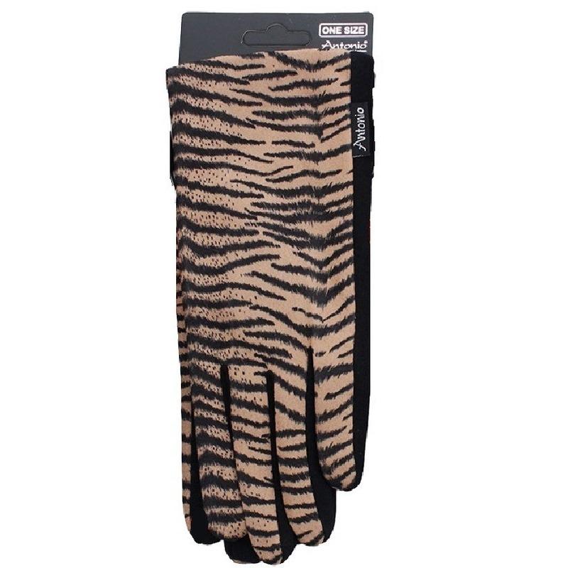 Bruine tijgerprint smartphone touchscreen handschoentjes voor dames