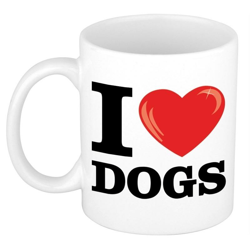 Cadeau I Love Dogs koffiemok / beker voor honden liefhebber 300 ml