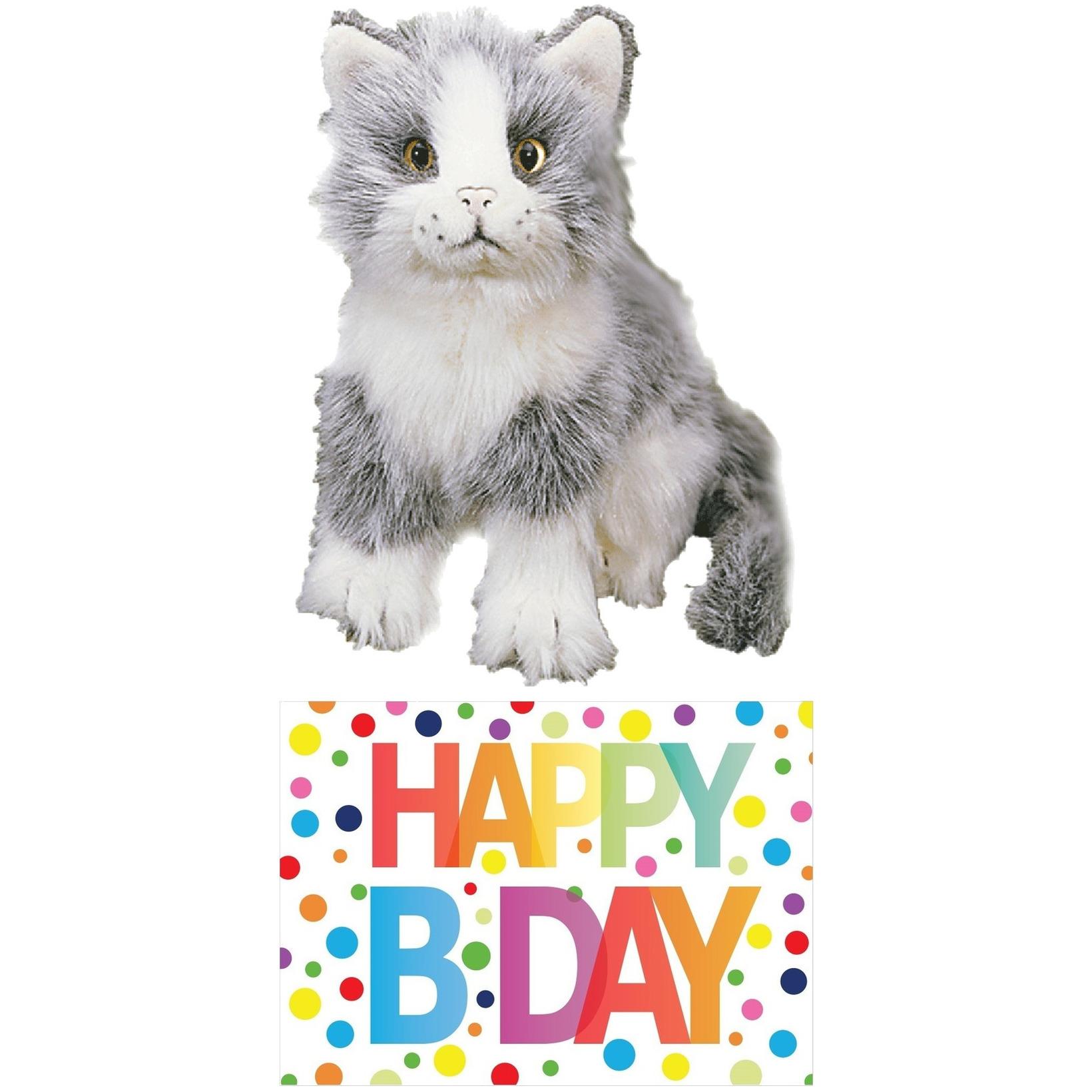 Cadeau setje pluche grijze kat/poes knuffel 20 cm met Happy Birthday wenskaart